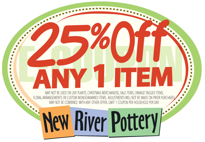 graphic about Old Time Pottery Coupon Printable identified as E-coupon Contemporary River Pottery